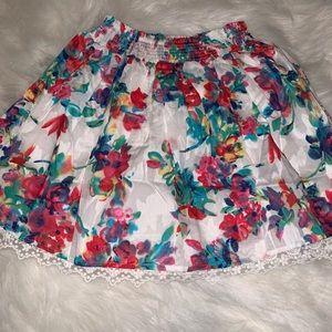 KidPik Lace Underlay Floral Skirt